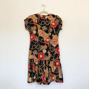 VLP Petites Vintage Gold Chain Drop Waist Dress